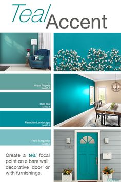 Bath Room Paint Colors Teal Accent Walls 44 Ideas For 2019 Teal Accent Walls, Accent Wall Colors, Teal Accents, Painting An Accent Wall, Wall Painting Colors, Teal Wall Colors, Office Wall Colors, Beach House Colors, Interior Wall Colors