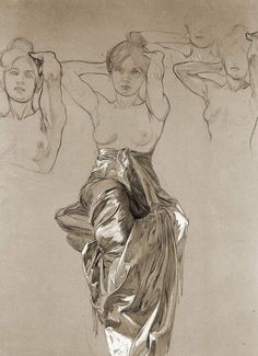 "artist-mucha: ""Study of Drapery, Alphonse Mucha Size: cm Medium: gouache"" Figure Painting, Figure Drawing, Painting & Drawing, Alphonse Mucha Art, Art Japonais, Anatomy Art, Art Graphique, Art Studies, Art Inspo"