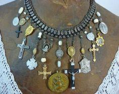 DEVOTION religious cross book chain  vintage assemblage antique  necklace