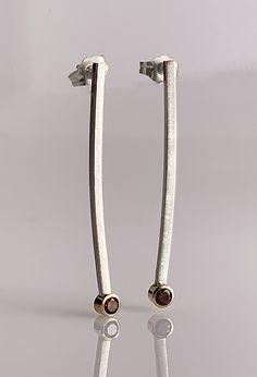 Minimalist Modern Earrings by Jan Van Diver (Gold, Silver & Stone Earrings) Silver Bracelet For Girls, Silver Bracelets, Gold Bar Earrings, Stone Earrings, Dangle Earrings, Metal Jewelry, Sterling Silver Jewelry, Silver Ring, 925 Silver