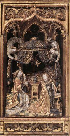 UNKNOWN MASTER, Flemish Annunciation Altarpiece 1480s Oak and walnut, 41,3 x 22,9 (central part), 41,3 x 11,1 cm (each wing) Museum Mayer van den Bergh, Antwerp