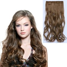 60CM Natural Hair Extention 3/4 Full Head Clip in Hair Extensions Hairpiece Hair Weave Synthetic Curly/Curly