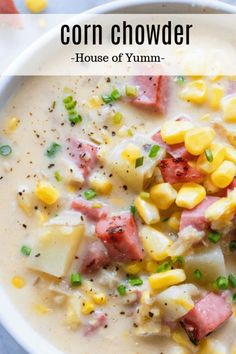 Best Corn Chowder I've ever had! Thick and creamy this hearty corn chowder is loaded with chunks of potato ham and tons of flavor! This soup is easy enough to make as a weeknight meal and best of all can be made with fresh frozen or even canned cor Beef Soup Recipes, Healthy Soup Recipes, Cooking Recipes, Good Soup Recipes, Ham Steak Recipes, Healthy Dishes, Chili Recipes, Family Recipes, Healthy Food