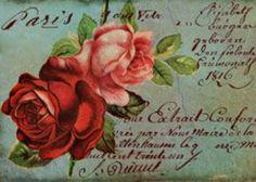 Postal carta rosas frances escrita imprimible. Postcard roses vintage script printable.