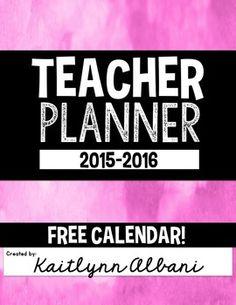 FREE CALENDAR - Teacher Planner Binder FREEBIE