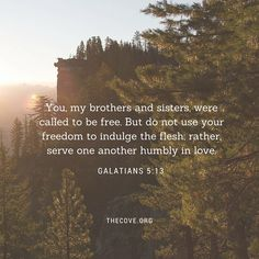 """""""You, my brothers and sisters, were called to be free. But do not use your freedom to indulge the flesh; rather, serve one another humbly in love."""" Galatians 5:13"""