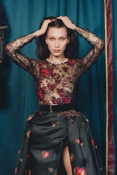 Hearts all around as Bella Hadid wears Elie Saab Haute Couture embroidered top and skirt