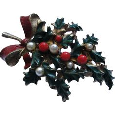 Vintage Signed Roma Christmas Holly Pin Broach