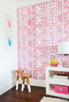 Love This Pink Aztec Feel Wall Paper, Very Girly!