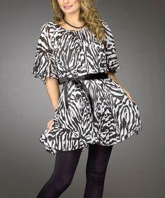 Loving this Black & White Zebra Tunic - Women & Plus on #zulily! #zulilyfinds
