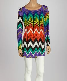 Take+a+look+at+the+Purple+&+Orange+Zigzag+Tunic+on+#zulily+today!