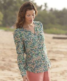 Crinkle-cotton Floral-print Shirt Orvis. $29.00