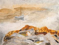 Winifred Nicholson, Seascape with Dinghy (or Seascape with Two Boats), 1926, Kettle's Yard, University of Cambridge