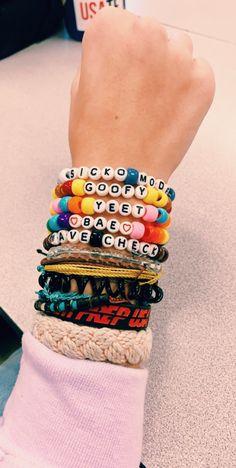 Woven Friendship Bracelets, Cotton Bracelet, Set of Wrap Straps … 3 -… - kandi bracelets Rave Bracelets, Pony Bead Bracelets, Friendship Bracelets With Beads, Bracelets Design, Trendy Bracelets, Summer Bracelets, Friendship Bracelet Patterns, Pony Beads, Loom Bracelets