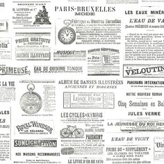 This wallpaper adds instant vintage charm to a room. Headlines and text pulled from French newspapers are collaged over ivory for a one-of-a-kind look. Ayer is an unpasted, non woven wallpaper.