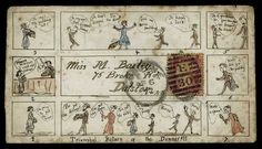 1872 (Sept. 6th), an unusual hand illustrated envelope in the form of a cartoon entitled 'Triumphal Return of the Dinner!!!', sent within London to Dalston with 1864–79 1d. stamp.