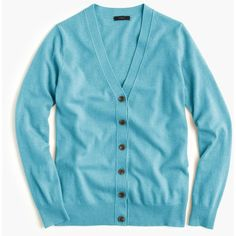 J.Crew Classic V-Neck Cardigan Sweater ($80) ❤ liked on Polyvore featuring tops, sweaters, j crew sweaters, blue v neck sweater, v-neck sweater, v-neck tops and relaxed fit tops
