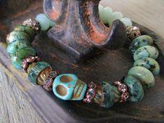 Skull stretch bracelet - Boo - moss green sky blue semi precious stone mix rhinestones earthy turquoise blue Halloween fall boho