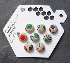 Fabric Covered Buttons  8 x 14mm buttons by HandmadeByElaine33