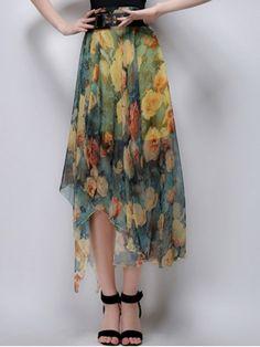 Floral Irregular Hem High Waist Skirt - YELLOW L