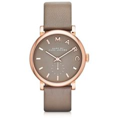 Marc by Marc Jacobs Women's Watches Baker 36 MM Gray Leather Strap and Rose Gold Stainless Steel Women's Watch
