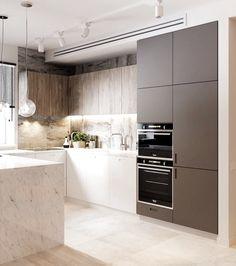 58 Most Stunning Modern Marble Kitchen Kitchen Room Design, Kitchen Cabinet Colors, Modern Kitchen Design, Interior Design Kitchen, Kitchen Decor, Kitchen Cabinets, Marble Kitchen Ideas, Kitchen Benches, Kitchen Wood