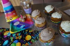 Celebrating Clover's birthday with dog birthday party cupcakes from @CanineCupcakes. Cute cupcakes (big and small), plus fun birthday dog schwag.   #sponsored