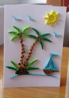 quilled palm trees and boat