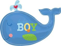 Foil Giant Ahoy Baby Boy Whale Balloon 34in - Party City