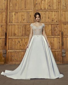 Style 2416-1 London | A-line Modern Wedding Dress by Casablanca Bridal | Casablanca Bridal Bridal Wedding Dresses, Wedding Dress Styles, Designer Wedding Dresses, Bridal Style, Casablanca, Wedding Dress Pictures, Dress Out, A Line Gown, Ball Gowns