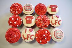 Your next cupcake project Holly. Football Themed Cakes, Football Birthday Cake, Football Cupcakes, Daddy Birthday, 21st Birthday, Birthday Ideas, Liverpool Fc Gifts, Liverpool Cake, Themed Cupcakes