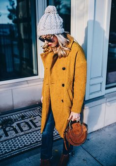 styling a mustard yellow coat for winter