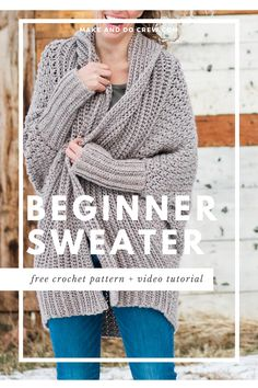 Simple Beginner Crochet Sweater - Free Pattern + Video Tutorial <br> Learn how to make a figure-flattering cardigan from a simple rectangle in this free beginner crochet sweater pattern and tutorial. Flowy and modern! Knit Cardigan Pattern, Crochet Cardigan Pattern, Free Crochet Sweater Patterns, Diy Crochet Sweater, Pull Crochet, Knit Crochet, Patron Crochet, Crochet For Beginners, Beginner Crochet