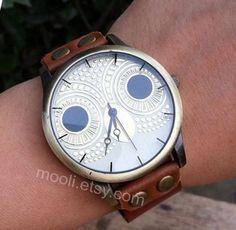 Brown leather bracelet watch cute owl watch handmade by mooli