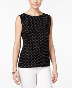 Karen Scott Petite Dot-Print Boat-Neck Top, Only at Macy's