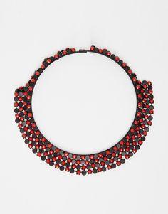 Halskette von Nali mit verziertem Netz mit Perlen sicherer Verschluss Kontakt mit Flüssigkeiten vermeiden 60% unedles Metall, 40% Polyurethan