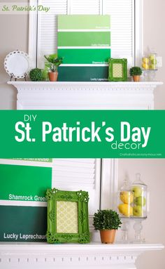 St. Patrick's Day Mantel + Paint Chip Canvas TUTORIAL