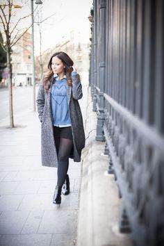 camisa denim, abrigo largo, zara, look casual, blogger de moda, outfit, lookoktheday, outfitoftheday