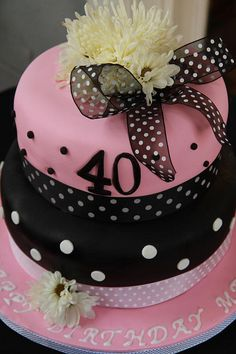 Pink and Black 40th Birthday Cake by brucakes, via Flickr