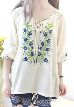 Price:$23.99 Color: As picture  Material: Cotton Folk Style Loose Fitting Floral Embroidered Sweet Shirt