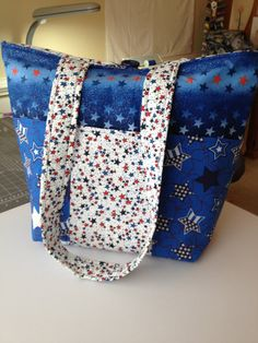 Large tote bag with six pockets button close stars patriotic red white and blue on Etsy, $60.00