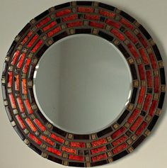 Beautiful Handmade Mosaic Mirror Bevelled Edge Glass Red And Gold Mosaic Tile