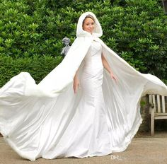 New Long Faux Fur Trim Satin WhiteIvory Bridal Hooded Cloak Wedding Cape Winter Wedding Dress Shawl Jacket 2020 Wrap Wedding Dress, Wedding Coat, Wedding Jacket, Long Wedding Dresses, Wedding Attire, Wedding Ceremony, Reception, Bridesmaid Dresses, Bridal Bolero