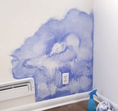 No need for expensive wallpaper— create your own watercolor wall! Check out this DIY and have a beautiful boho feature wall of your own. Wall Painting Decor, Painting Trim, Mural Wall Art, Diy Painting, Wall Paintings, Stencil, Expensive Wallpaper, Watercolor Walls, Room Wallpaper