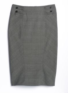 Cleo | Glencheck knit plaid pencil skirt with double tab waistband detail, front panel, back yoke, back panel, pleated back hem, hidden back zipper closure and hidden interior button #StyleAdvisor #CleoFashion
