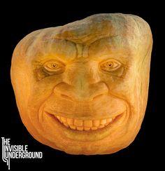 """Meathead"" pumpkin sculpted at Adobe Pumpkin Farm.    #carving #fruitcarving #foodart #sculpture #pumpkin #pumpkincarving"