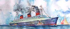 """Ocean Liner Normandie Leaving Port"", watercolour on paper, 40x60cm, 2015"