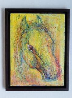 """Öl Acryl Tempera Gemälde Kanvas Rahmen Handgemalt Pferd Tiere Abstrakt direkt,   """"soil"""" Hajewski Gc, Öl, kanvas (Leinen rein,) Größe: 40x30cm, Größe des Gemäldes mit Rahmen: ca 45x35cm (Rahmen: Schattenfuge, Holz dunkelbraun)"""