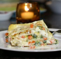 """Roasted Vegetable Lasagna.  Tash said, """"It was delicious! Everyone ate it up. I always prefer a béchamel sauce over Alfredo too so I liked this a lot. I used carrots, fresh spinach, mushrooms and peppers for the veggies."""""""