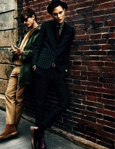 Patterned suit, tie, hat, oxblood oxfords